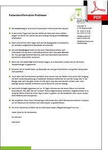 Patienteninformation Prothesen. Praxis Dr. Karl-Uwe Jülich