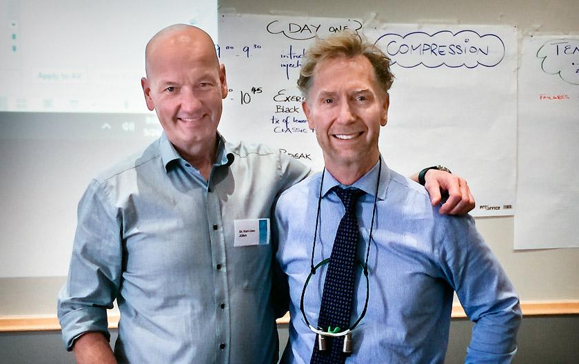 Dr. Jülich auf einem Seminar mit dem Erfinder der Methode Dr. David Clark aus Tacoma/USA, Direktor des Fortbildungsinstituts Precision Aesthetics Northwest